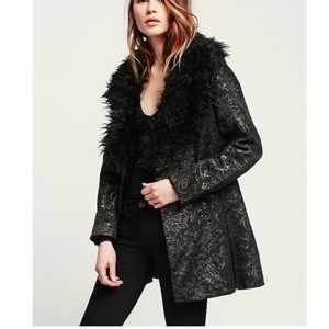 free people faux fur collar coat